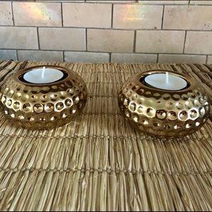Mid Century Set of 2 gold tea light candle holders